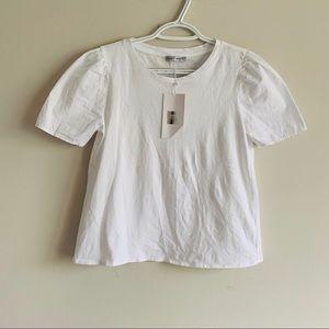 Zara White tee Puffed Cotton sleeve